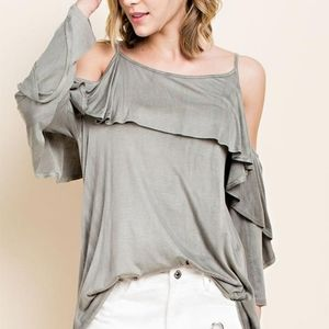 2/$45 NWT Olive Ruffle Cold Shoulder  Top